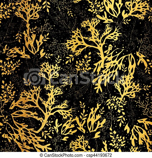 Vector Gold Black Seaweed Texture Seamless Pattern Background Great