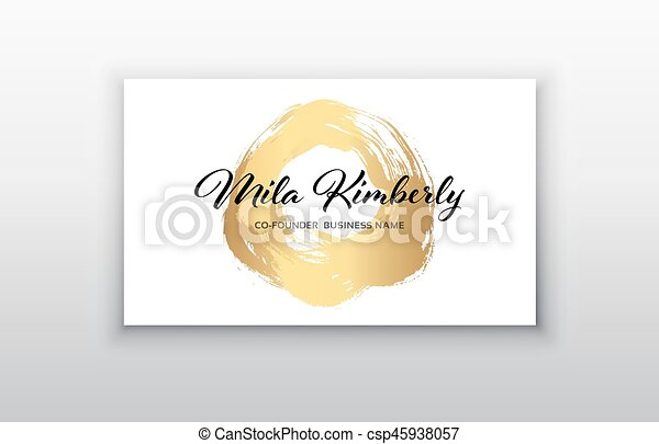 Vector gold business card templates with brush stroke background vector gold business card templates with brush stroke backgroundctor design concept for stylist makeup artist photographer stylish elegant business reheart Gallery