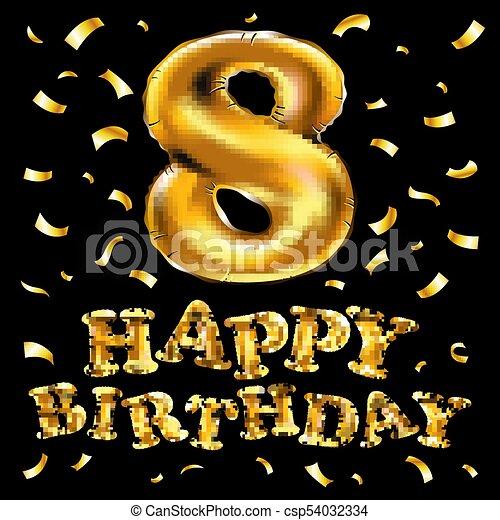 vector gold eight years anniversary celebration happy birthday