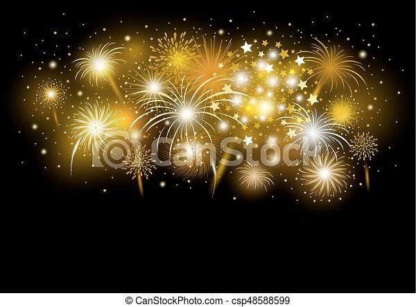 Vector gold firework design on black background - csp48588599