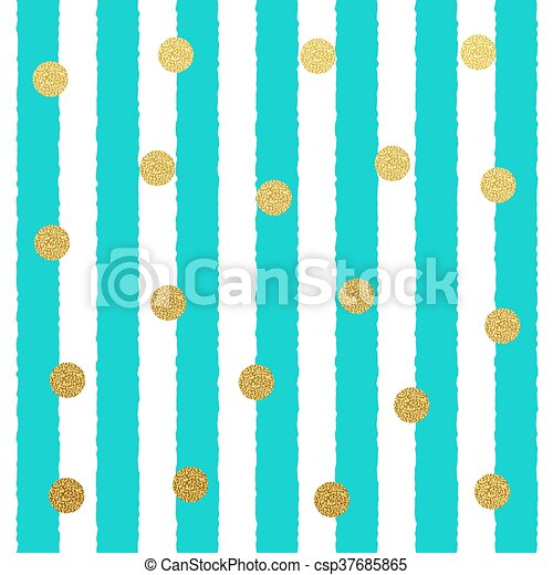 Vector Gold glitter dots seamless pattern with stripe background - csp37685865