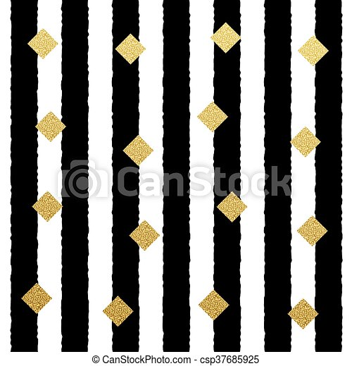 Vector Gold glitter dots seamless pattern with stripe background - csp37685925