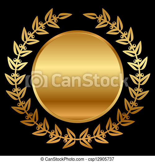 Vector gold laurels on black - csp12905737