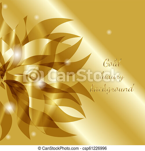 Vector Gold Luxury Floral Abstract Background With Flower