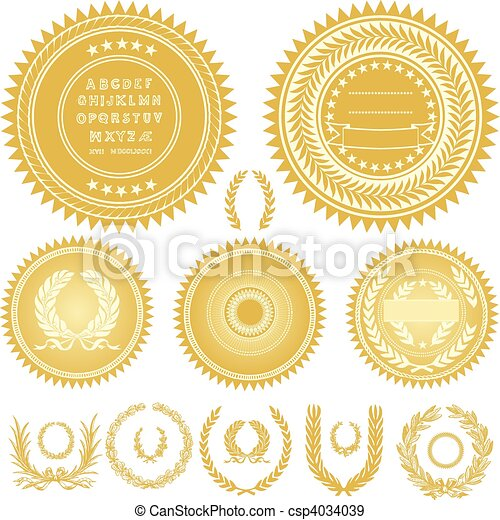 Vector Gold Seals and Wreaths - csp4034039