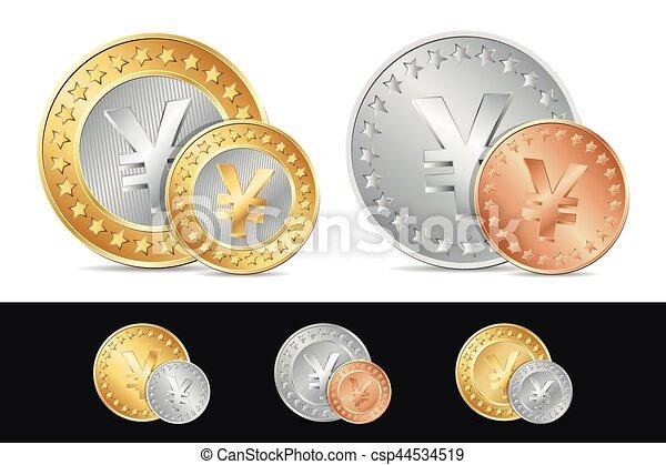 vector gold silver and bronze yen coins eps