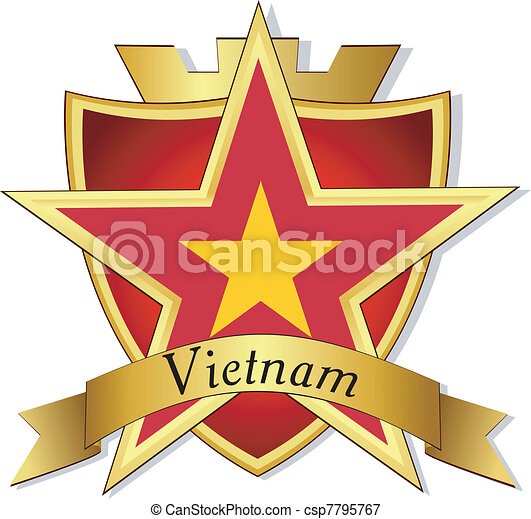 Vector gold star to the flag of  Vietnam on the background of the shield - csp7795767