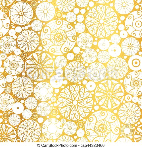 Vector Gold White Abstract Doodle Circles Seamless Pattern Background Great For Elegant Texture Fabric Cards Wedding Invitations Wallpaper