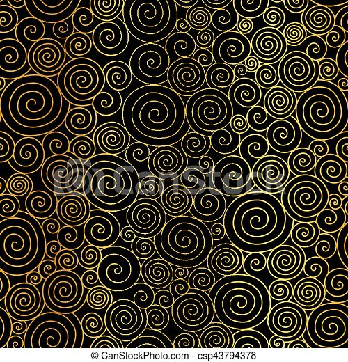 Vector Golden Black Abstract Swirls Seamless Pattern Background Great For Elegant Gold Texture Fabric Cards Wedding Invitations Wallpaper
