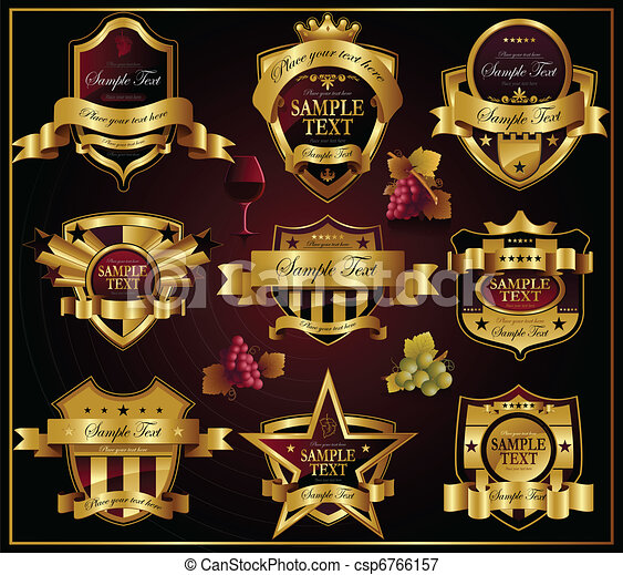 Vector golden labels: Wine and alco - csp6766157
