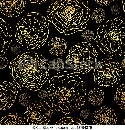 Vector Golden On Black Peony Flowers Summer Seamless