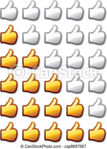 vector golden rating thumb up hands - csp8697667
