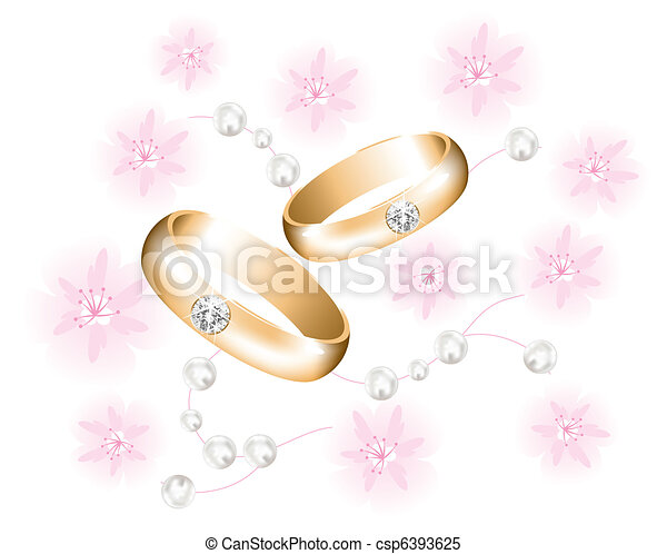 vector golden wedding rings with diamonds - csp6393625