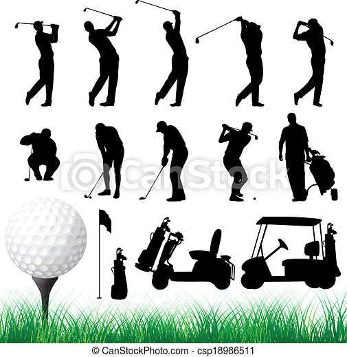 Vector Golfer Silhouettes - csp18986511