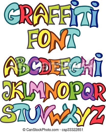 vector graffiti font english alphabet in graffiti style vector set rh canstockphoto com