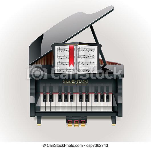 Vector grand piano XXL icon - csp7362743