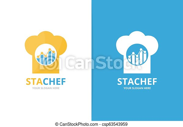Vector graph and chef hat logo combination. Diagram and kitchen symbol or icon. Unique chart and cook logotype design template. - csp63543959