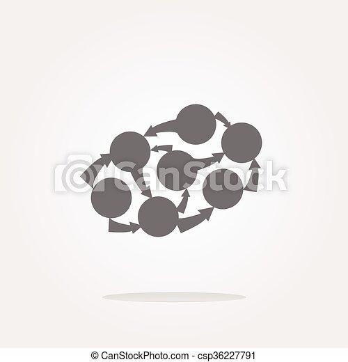 vector Graph Icon on Round Button - csp36227791