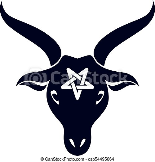 Vector Graphic Emblem Of Horned Goat Head Made With A Pentacle