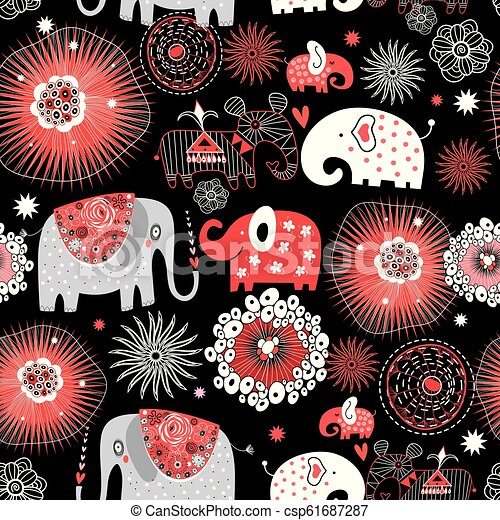 Vector graphic seamless pattern with love elephants - csp61687287