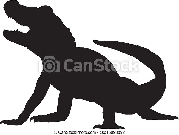 Line Drawing Vector Graphics : Vector graphic silhouette of an american alligator. eps vectors