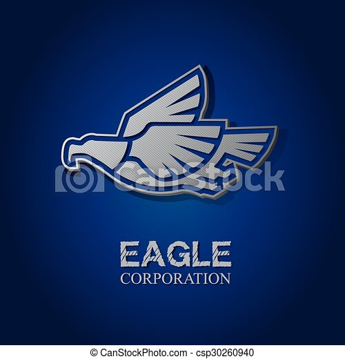 Vector graphic silver eagle symbol with text - csp30260940