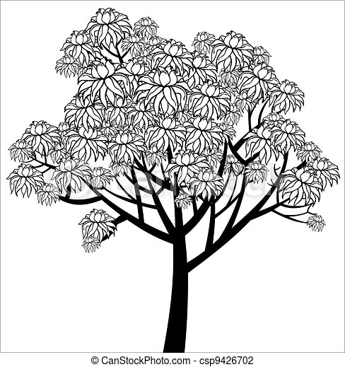 Vector graphical drawing of young flowering tree - csp9426702