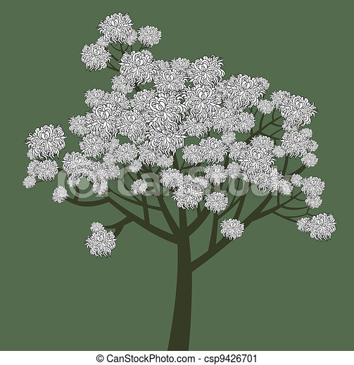 Vector graphical drawing of young flowering tree - csp9426701