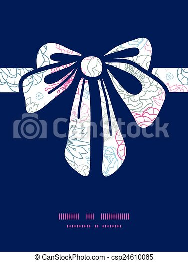 Vector gray and pink lineart florals gift bow silhouette pattern frame - csp24610085