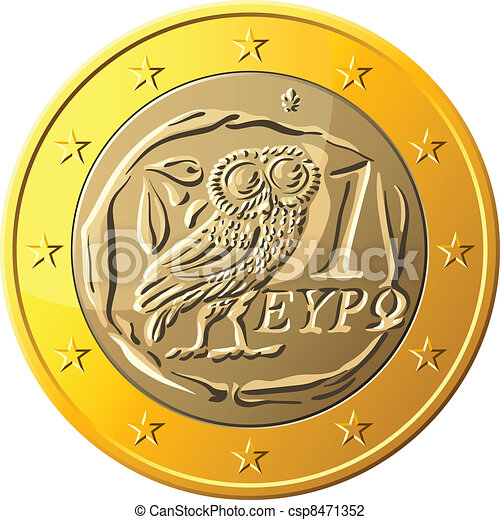vector Greek money gold coin one euro featuring owl - csp8471352