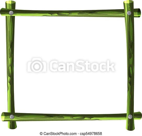 vector green bamboo frame square horizontal border blank template