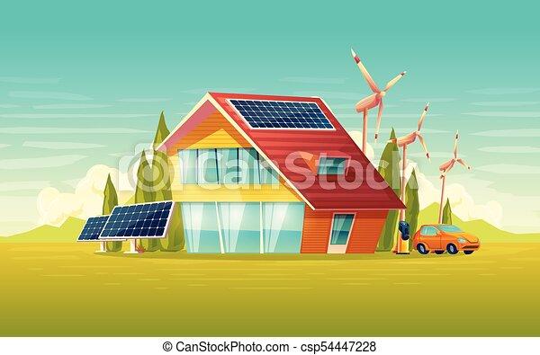 Vector green house, electric car renewable energy