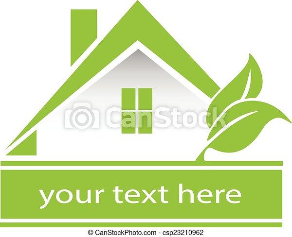 Vector green house leafs logo - csp23210962