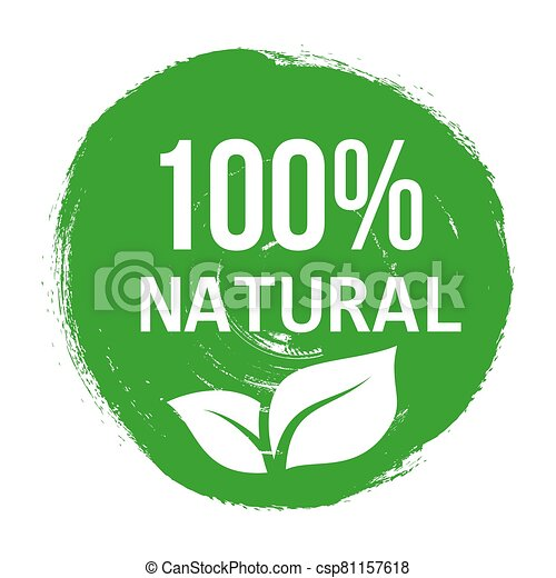 Vector green logo natural product. Banners or posters organic healthy food. - csp81157618