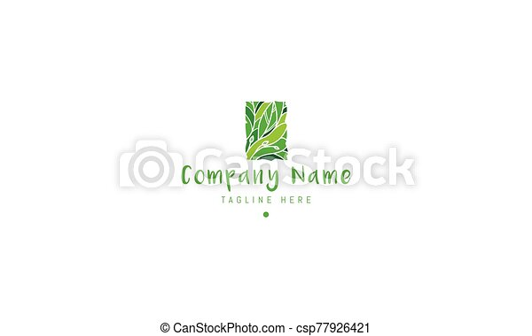 Vector green logo on which the abstract image of the jungle. - csp77926421