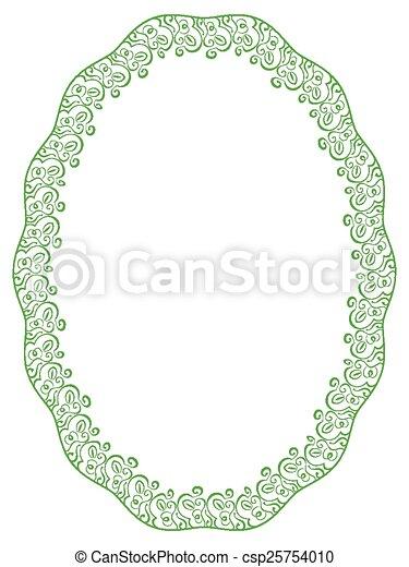 Vector green oval frame on white background. Vector green elegant ...