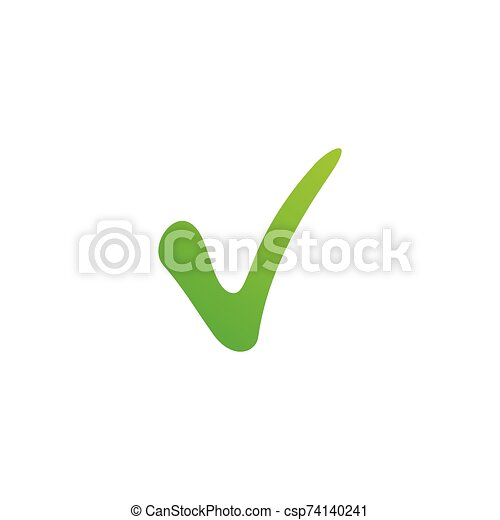vector green positive checkmark, Stock Vector illustration isolated on white background. - csp74140241