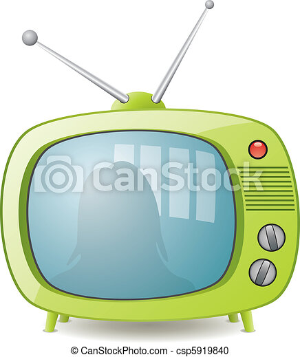 vector green retro tv set - csp5919840
