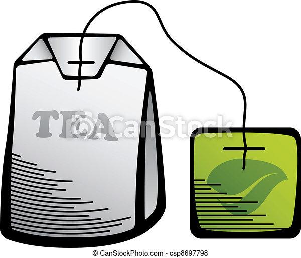 vector green tea bag icon - csp8697798