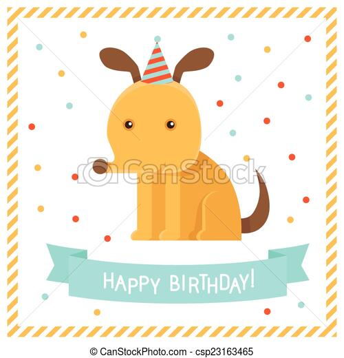 Vector greeting card in flat style with funny dog happy clip vector greeting card bookmarktalkfo Choice Image