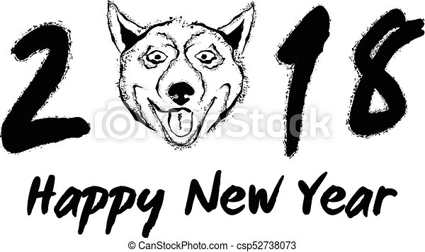 Vector greeting card design template with calligraphy for 2018 New Year of  the Dog  Black number 2018 hand drawn lettering with dog face isolated on
