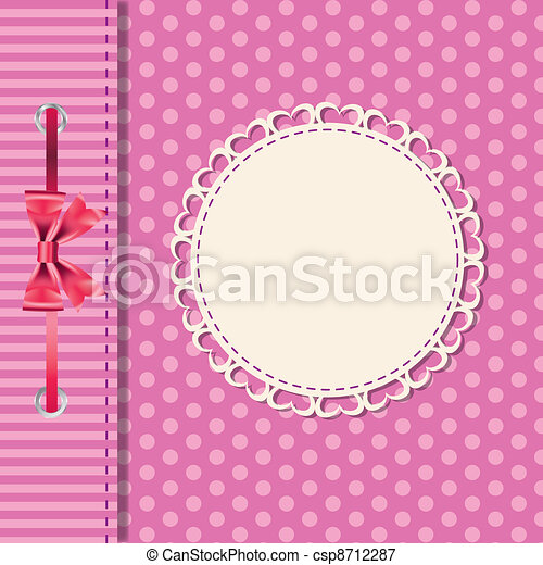 Vector greeting card or cover with bow. Space for your text or picture. - csp8712287