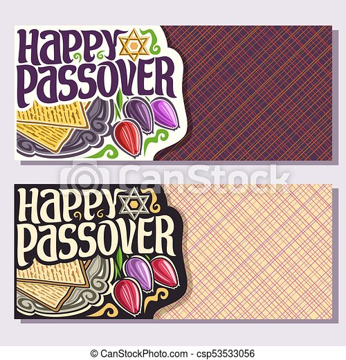 Vector greeting cards for passover holiday with copy space vector greeting cards for passover holiday with copy space decorative handwritten font for text happy passover on vintage plate kosher flatbread matzah m4hsunfo
