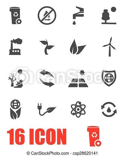Vector grey eco icon set - csp28620141