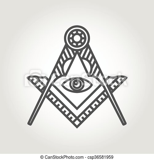 Vector Grey Masonic Freemasonry Emblem Icon On Grey Clipart