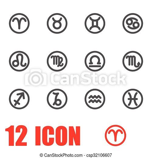 Vector Grey Zodiac Symbols Icon Set Zodiac Icon Object Zodiac Icon