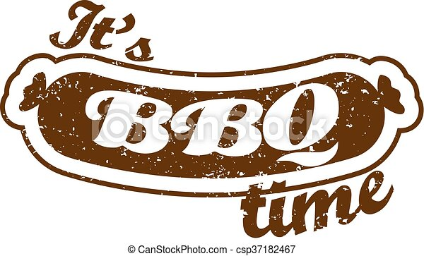 Vector. Grill sausage: It's Barbecue time. Summer BBQ. BBQ season. BBQ poster. Summer Picnic outdoor. Family BBQ day. BBQ related goods adv. Grill meat. Isolated illustration cookout. Barbecue retro - csp37182467