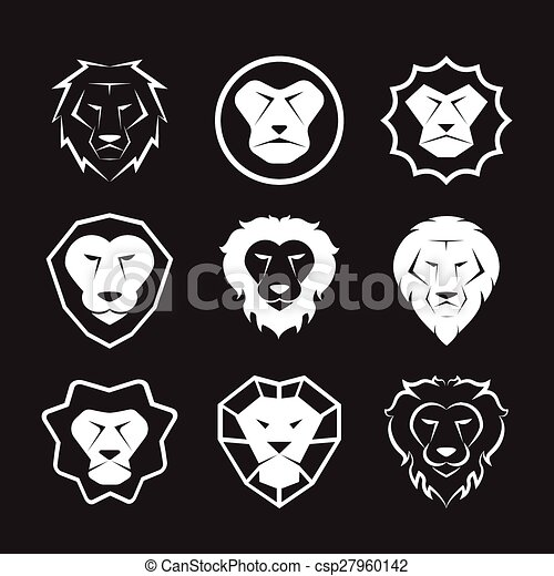 Vector group of an lion head design on black background - csp27960142