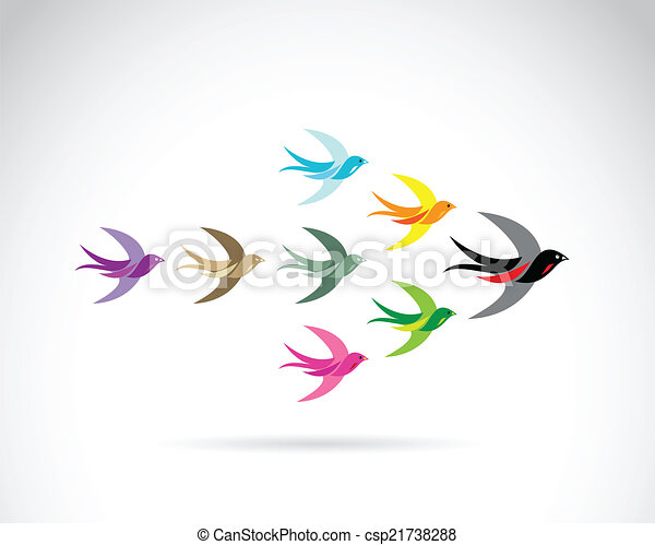 Vector Group of colorful swallow birds. Teamwork concept - csp21738288