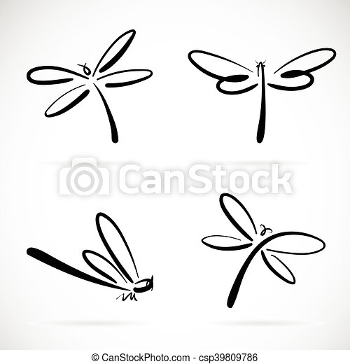 Vector group of dragonfly sketch on white background - csp39809786